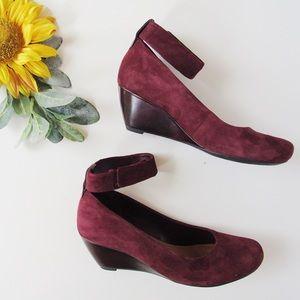 Clarks Burgundy Basset Mist Ankle Strap Wedge 8